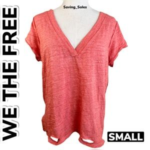 We The Free Distressed Torn V-Neck T-Shirt (S)